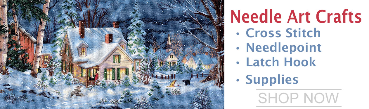 Needle Arts : Counted Cross Stitch, Latch Hook & Rug Hook, Needlepoint & Embroidery, Stamped Cross Stitch, Needles, Plastic Canvas, Stitching Notions and Supplies