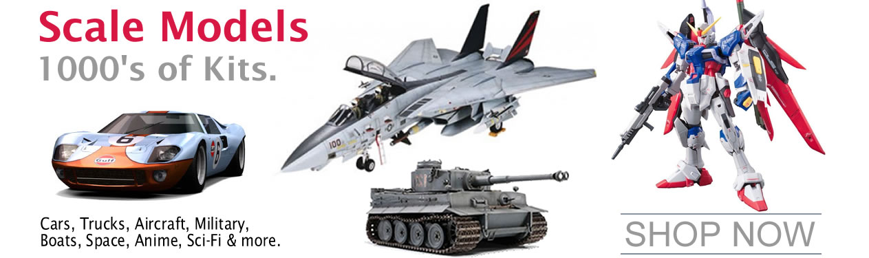 Oakridge Hobbies offers the largest selection of Model Car, Truck, Boat, Military, Ship, Tank, Airplane, Anatomy Hobby Model Kits, including AMT Ertl Car and Truck Model Kits, Revell Star Wars Model Kits, Lindberg Anatomy models, IMEX American History Figure Model Kits, Tamiya Military Model Kits, Tamiya Ship Model Kits, Italeri Aircraft Model Kits, Italeri Military and Ship Model Kits, Revell Monogram Model Kits, Revell Monogram Car and Truck Model Kits, Revell of Germany Ship Model Kits, Lindberg Alien and Space Craft Kits, Dragon Military Model Kits, Revell of Germany Car, Motorcycle and Truck Models and Lindberg ship models, Tamiya Battleship models, Gundam Models, Bandai Models, Guillows balsa wood airplane models and ARTESANIA LATINA Wooden Ship and Boat Wooden Model Kits