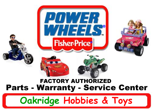 Oakridge Hobbies is a full service Factory Authorized Power Wheels Parts and Service Center. See our huge selection of Power Wheels Ride On Parts